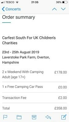 CARFEST SOUTH 23/25th AUG 2019 FULL WEEKEND CAMPING FOR 2 PLUS TENT AND MATTRESS