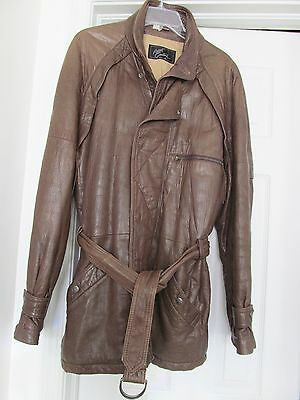 Robert Comstock Brown Textured Leather Belted Jacket Thinsulate Men's 42 VINTAGE