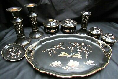 Antique English Porcelain Black Moriage 9 Piece Dresser Set with Dragon Fly Tray