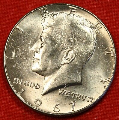 1967-P Kennedy Half Dollar Bu 40% Silver Coin 50C Check Out Store Kh81