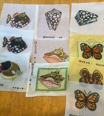 Lot of 10 Vtg Brunswick Needlepoint Canvases FISH SHELLS BUTTERFLY some complete