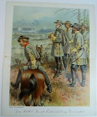 RARE Antique Litho Print General Robert E Lee Fredericksburg 1862 Civil War 1900