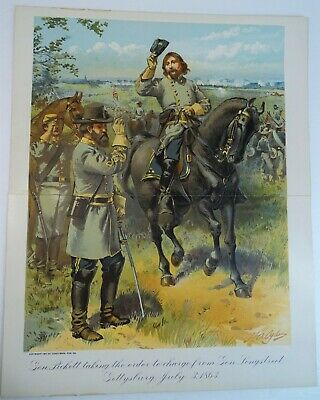 RARE Antique Litho Print  Pickett & Longstreet Gettysburg 1863 Civil War 1900