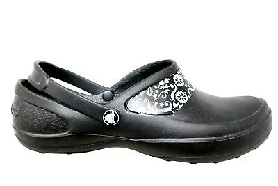 a0614d807f83 Crocs Mercy Work Black Silver Floral Slip On Back Band Clog Shoes Womens  Size 9