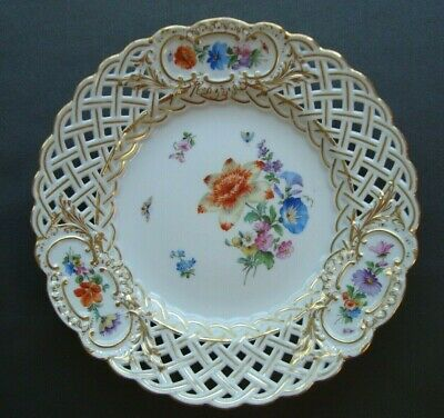"Antique Meissen Reticulated 8 1/4"" Hand Painted Porcelain Plate Crossed Swords"