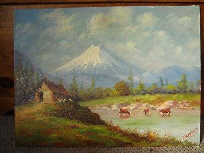 Ecuadorian Artist Hector Moncayo (1895-1984) Framed Signed Oil On Board Painting