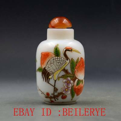 Antique Chinese Glass Handmade Red-crowned Crane Snuff Bottles BY64