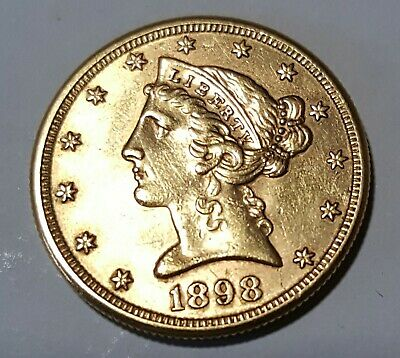 1898 -S $5.00 Gold Liberty  Head Half Eagle