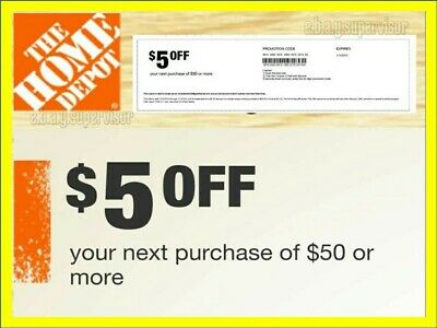 2 x Home Depot Coupons $5 OFF $50 In Store Use Only (lNSTANT delivery)