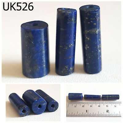 Lot 3 ANTIQUE Egyptian Style Lapis w/Pyrite Carved Tube Beads Trade #UK526a