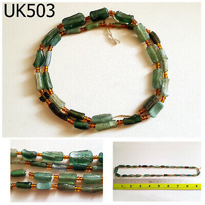 Ancient GREEN Roman Patina Glass Fragment Beads Strand #UK503a