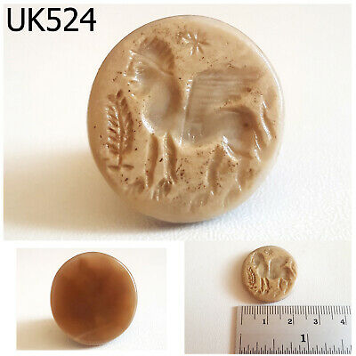 Near Eastern Ancient Agate Stone Intaglio Sphinx Carved Flat Coin #UK524a