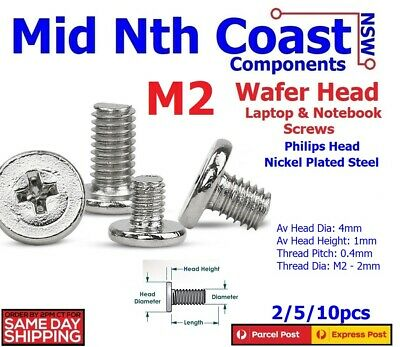 2/5/10pcs M2 x 3-12mm Wafer Head Laptop Notebook Screws Phillips Nickel Plated