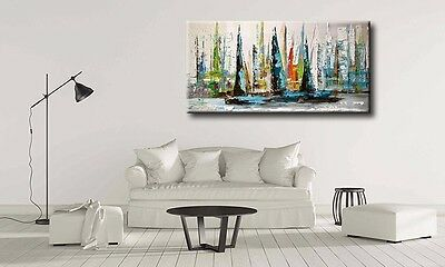 Abstract Canvas Framed oil Painting Sailboat Modern Wall Hanging Art Home Decor