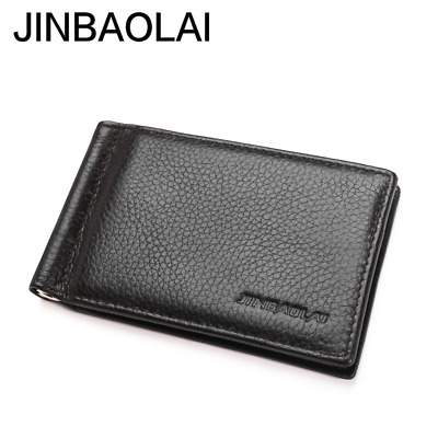 Thin Slim Genuine Leather Men Wallet Vallet Male Purse Bag For Money Clip Pouch