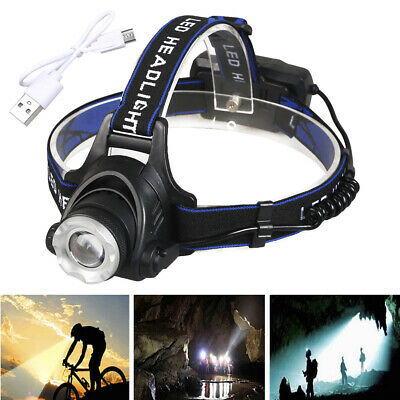 90000 Lumens 3-Zoom T6 LED 18650 Headlamp Rechargeable Head Light Torch Hunting