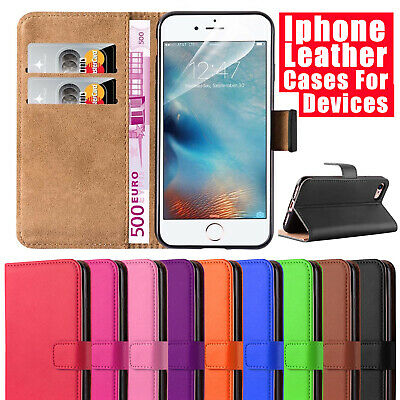 Case for  iPhone 6 7 8 5S SE X XS XR Plus Cover Real Genuine Leather Flip Wallet