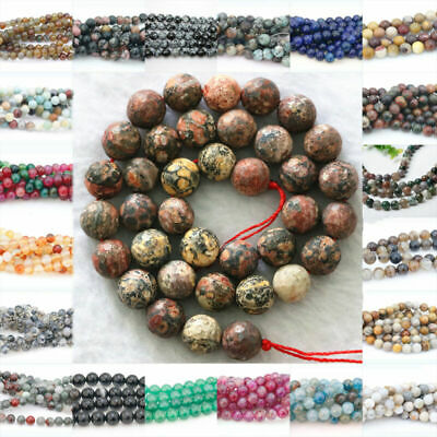 "Natural Colorful Stone Agate Gemstone Quartz Round Loose Spacer Beads 15"" 4-12mm"
