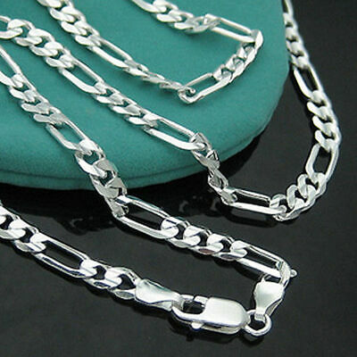925 Silver Plated NEW Fashion 4MM Chain Men Figaro Necklace 16-30 Inch