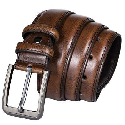 USA Brown Leather Mens Belts Single Prong Pin Buckle Jeans Belts Work Straps