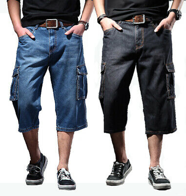 Mens New Cargo Denim Long Walk Shorts Sizes 30 To 44 Blue Black Below Knee Pants