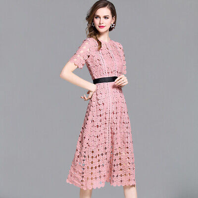 New Summer Lace Women's Fashion Hollow Out Slim Sexy Vestidos Party Dresss