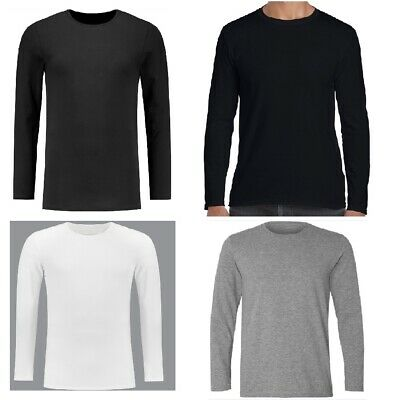 Men's Plain Blank T-shirt Basic Tee White Black Grey Long Sleeve New Bulk