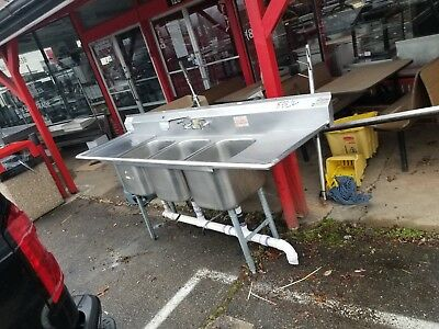 Commercial 3-Compartment stainless steel sink 3 bay commercial sink NSF