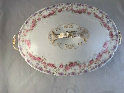 Theodore Haviland China Limoges France Pink & Blue Roses Covered Serving Bowl