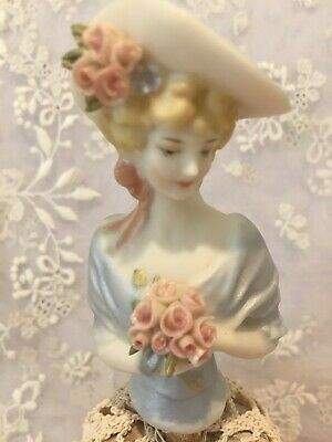 "Porcelain Half Doll - ""Veronica in blue""  8 cms"