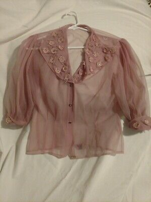 Vintage 1950s Penny Potter Mauve Pink Sheer Flower Puffy Sleeve Blouse Small