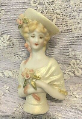 "Porcelain Half Doll - ""Veronica in gold/cream""  8 cms tall"