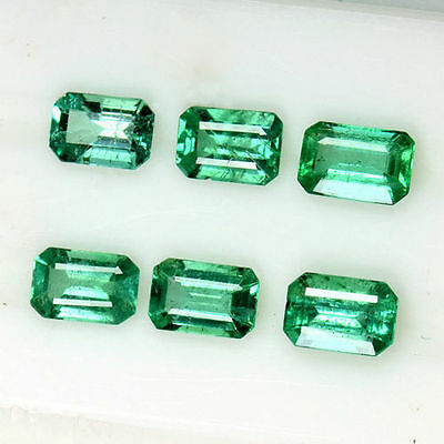 2.98 Cts Natural Fine Green Emerald Cut Loose Gemstone Octagon Lot 6x4 mm Zambia