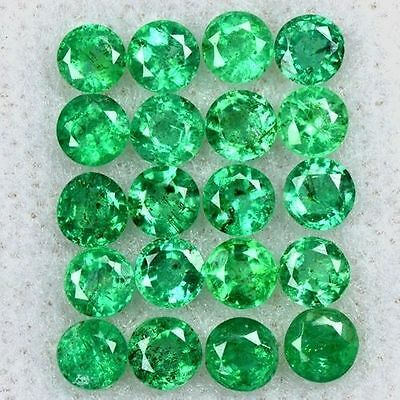 2.66 Cts Natural Top Quality Emerald Round Cut Lot Zambia Size 3 mm Untreated $
