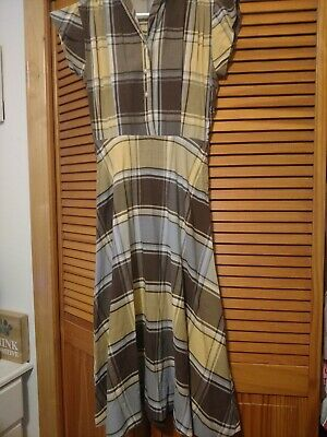 Vintage Womens Cap Sleeve Dress Yellow, Blue, Brown Plaid Small Button Front