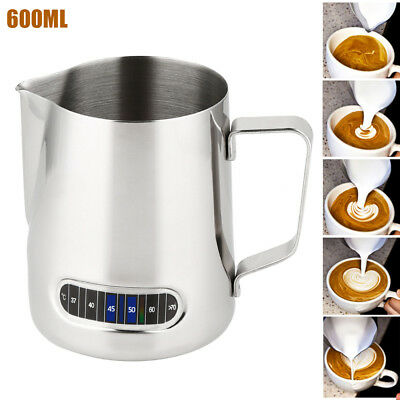 600ML Milk Frothing Jug Frother Coffee Latte Container Metal Pitcher Thermometer
