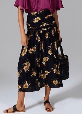 Country Road Floral Print Maxi Skirt [XS,S,L] Navy NWT RRRP$139