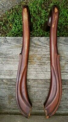 """Antique Victorian Carved Mahogany Salvaged Parlor Chair Arms (Pair) 19"""" L"""
