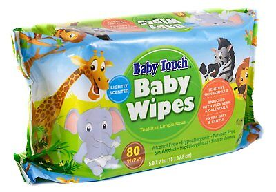 Baby Touch Wipes. Pack of 80 Premium Quality Scented Baby Wipes. Cleansing Wipes