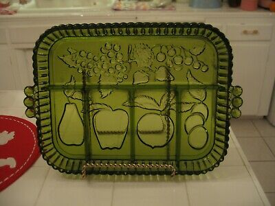 Nice Vintage Indiana Glass Green Fruit Divided Tray Relish Platter Serving Dish