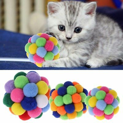 New Pet Cat Toy Colorful Handmade Bells Ball Built-In Catnip Interactive Toys