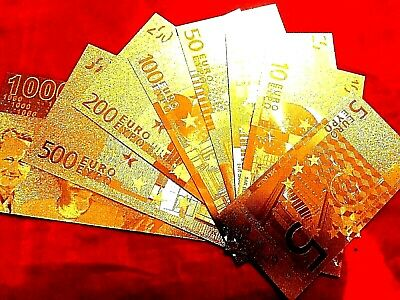 EURO BANKNOTES 8 24k GOLD  BANK NOTE LIMITED SET GIFT IN CERTIFICATE SLEEVES