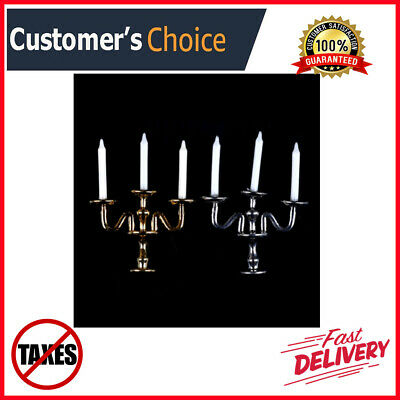 1:12 Scale 3-arm Candelabra White Candles Furniture Toy Dollhouse Miniature NEW