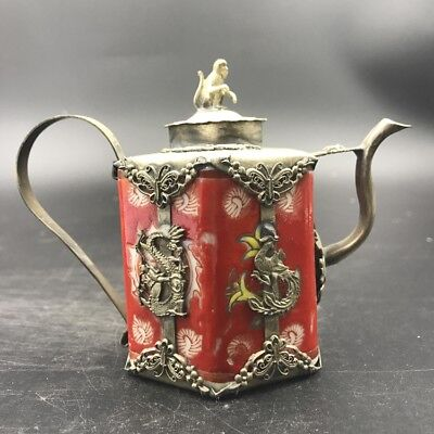 Chinese Antique Red Ceramic Teapot Outsourcing Tibetan Silver.   c474