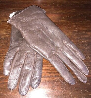 Ladies Brown Lambs Leather Gloves Size Approx. 6.5 (Small) Immaculate Vintage