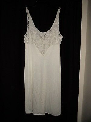 ladies full slip WHITE SIZE  petticoat   stretch lace bust RETRO VINTAGE