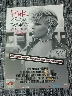 PINK - 2018 BEAUTIFUL TRAUMA TOUR - Australia Tour SIGNED AUTOGRAPHED Poster