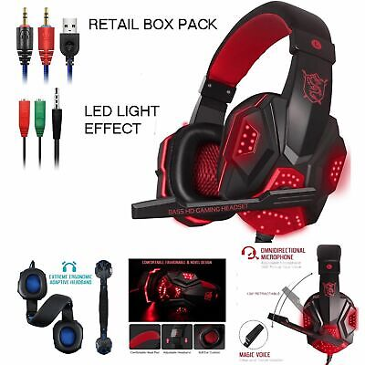 3.5mm Gaming Headset MIC LED G2000 Headphone for PC Laptop One 360