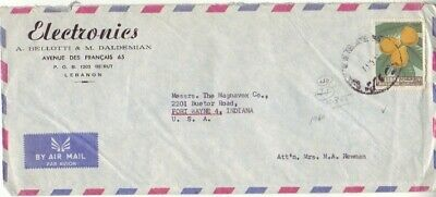 Lebanon - Air Mail from Belotti Electronics to Magnavox Co. (Air Mail SC) 1962