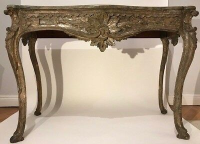 rare first half 18 century silvered wood console Naples
